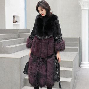 New Winter Fashion Women Long Sleeve Thicken Warm Hidden discount High quality Female Pockets Round collar Faux fur coat CY5621