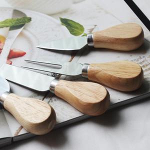 Couteau à fromage Set Chêne poignée couteau fourchette pelle Kit Râpes de cuisson du fromage Pizza Slicer Cutter AHF2151