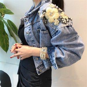 Denim Cotton Jacket Fashionable Beads Embroidery Korean-style Loose-Fit Elegant Short Jacket Women's UT217 201028