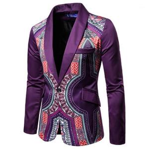 2020 Yeni Afrika Etnik Baskı Dikiş Erkekler Blazer Erkekler Için Mor Slim Fit Ceket Yaz Moda Takım Elbise Blazer Erkek Coat1