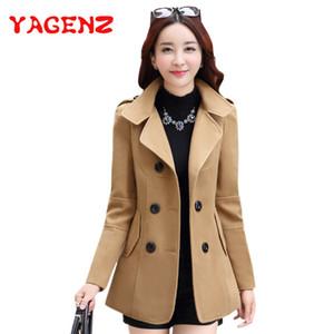 Jacket YAGENZ Inverno roupas curtas de lã Casaco Mulheres Brasão coreano Outono lã Moda trespassado mistura elegante 77 201007
