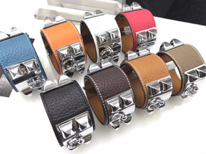 low price wholesale foreign trade h litchi real leather four nailing rivet leather bracelet exaggerated punk wind h bracelet bangle jewelry