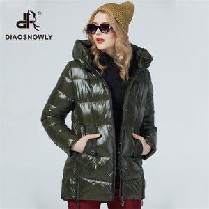 Diaosnowly novo jaqueta de inverno mulher outwear casacos com capuz feminino moda casaco quente 201023