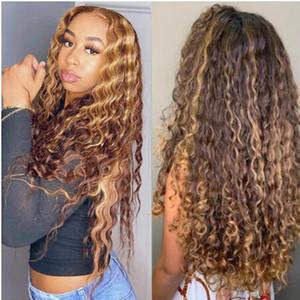 Curly Human Human Wig Honey Loira Ombre Brasil Brown Cor Deep Water Water HD HD Destaque Frontal Frontal Bob Lace Perucas