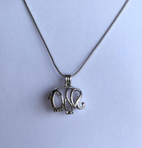 Elephant style Locket Pendant Necklace, Rhodium Plated can open & hold beads Cage Necklace DIY Fashion Jewellery Charm1