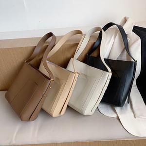 PU cuir Sacs Bucket pour femmes 2020 Trendy Fashion solide couleur épaule Sacs à main bandoulière Branded Trending Sac à main c1019