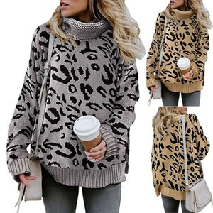 2020 women's autumn and winter new sweater women's casual long sleeve sweater women's designer leopard print Lapel fashion sweater