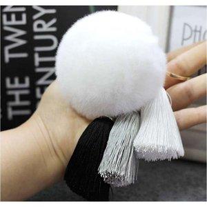 패션 12 색 토끼 모피 Cony 헤어 볼 Pompom Charm Thice Tassel Pendant Keychain 여성용 자동차 키 반지 핸드백 액세서리 F BbyZxc