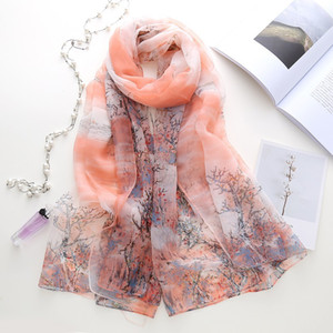2021 new Korean version oil painting branch print silk scarf ladies long sunblock shawl beach towel