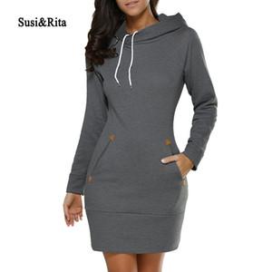 Susirita Automne robes à capuche femmes femmes poche manches longues mini robe à capuche plus taille hiver vêtements décontractés vestidos 201029