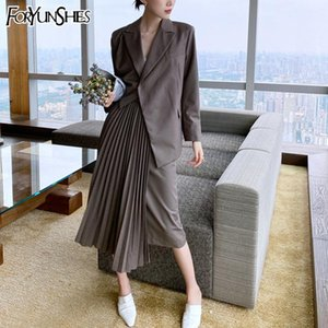 FORYUNSHES 2 Piece Set Women Asymmetrical Blazer Office Ladies Business Long Sleeve Grey Coat + Pleated Mid-Calf Skirt 2020 New