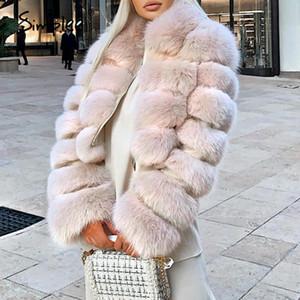 Plush casaco de pele engrossada revestimento morno cintura alta das solto Simplee mulheres elegantes Street Style Coats Mulher do inverno 2020 New M612