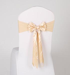 17 Couleurs Spandex Chaise Chaise Sashes Gratuit Lacets Élastique Chaise Chaise Chair Band avec arc de soie pour l'événement Party Decoration de mariage Fournitures EWC3456