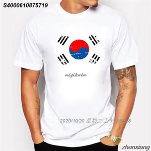 BLWHsA Корея Поклонники Cheer Tshirts Для мужчин Korea National Flag Tee Tops рубашки лето Повседневный Tshirts Ностальгический стиль 58202010