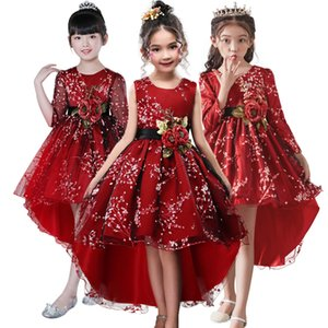 Flower girl for Clothes Plum wine Red Wedding Trailing Children Kids Party Dress baby Girls Princess W1227