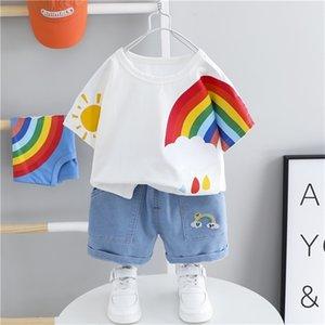 HYLKIDHUOSE 2020 Summer Baby Boys Girls Clothing Sets Toddler Infant Short Sleeve Rainbow T Shirt Shorts Children Kids Clothing X0923