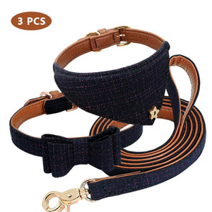 Leather Dog Collar Bandana Leash Set Plaid Bowknot Pet Collar And Leash Set Adjustabe Dog Collars And Banda qylcqA