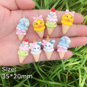 Cute Cartoon Ice Cream Charms Pendants Resin flat back cabochon for jewelry making bracelets necklace earrings Accessoriesvip