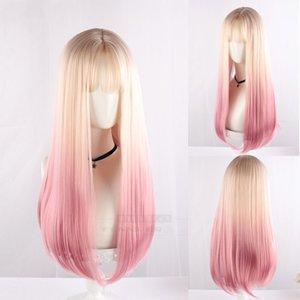 Gradual Beige Pink Lolita Wig Harajuku Sweet Sakura Long Straight Mixed Colors Synthetic Hair Fringe Bangs Daily Adult Girls