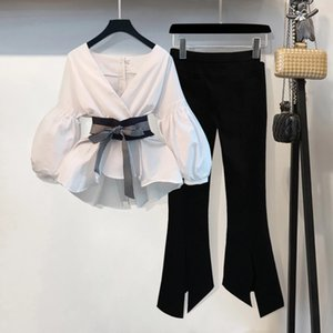 Fashion Spring Women 2 Pieces Set Long Sleeve Blouse Tops And Trousers Casual Office Lady Pants Suit Plus Size 4Xl Clothes Set 201009