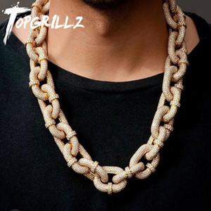 TOPGRILLZ 17мм Майами кубинского ожерелье цепь с Iced Out карабина цепи Micro Pave Цирконий Hip Hop Ювелирные изделия для подарка 0927