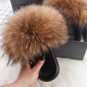Hot Sale Ethel Anderson Real Fox Fur Slides Slippers Lady Natural Raccoon Flip Flops Fluffy Fur Sandals Plush Shoes Amazing Present