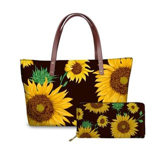 Shoulder Bags for Women 2020 Cute Sunflowers Print Handbags&Wallet for Females 2pcs set Ladies Top-Handle Bags Tote Bag Luxury