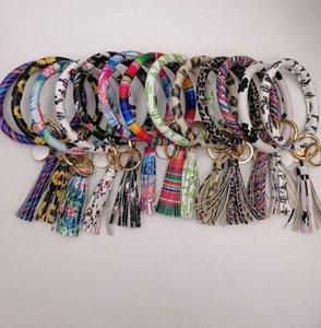 EUBFREE 10pcs mixed colors PU Leather O Key Chain Custom Circle Tassel Wristlet Bracelet Keychain Women Girl Key Ring Wrist Strap