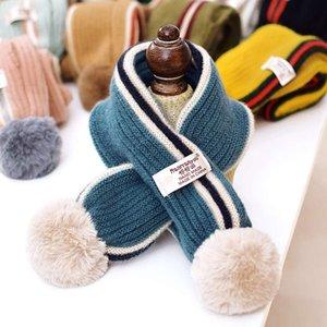 Корейская версия Детские зимние мальчики и девочки мягкие цвета сопоставляющие теплые шерстяные шарф детский универсальный шариковый шеи мода