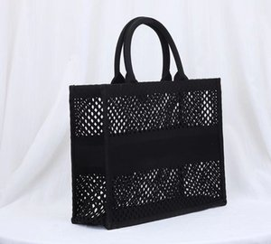 Handbags Black Trip BOOK TOTE Original Blue Purse Embroidery Fashion Bag Out Totes Big Capacity Mesh Shopping Ladies Hollow Style Canva Opee