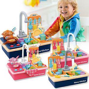 Los niños de plástico de simulación eléctrica Lavavajillas fregadero de cocina Juguetes el juego de simulación con el Kit cuenca de agua eléctrico de lavado de regalos de los niños