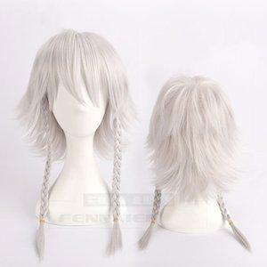 Anime TouHou Project OW Reaper Genderbend Izayoi Sakuya Cosplay Wig Silver grey Braided Wig + Hair Cap