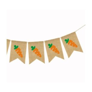 Easter Flag Linen Hanging Banner Colored Rabbit Carrots Pull Flags Home Decor Layout Easter Decorations Party jllOzG yy_dhhome