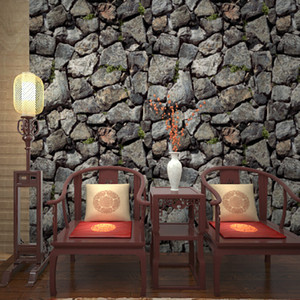PVC Embossed Wallpaper 3D Stereoscopic Brick Stone Vintage Vinyl Wall Papers Living Room Study Hotel Background Wall Home Decor