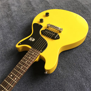 New arrival hot selling electric guitar yellow color one piece bridge pickup real guitarra pics high quality