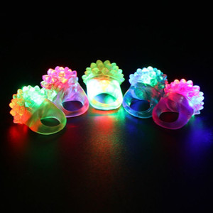 36pcs Strawberry Flashing LED Light Up Toys Bumpy Rings Party Favors Supplies Glow Jelly Blinking Bulk Q0113