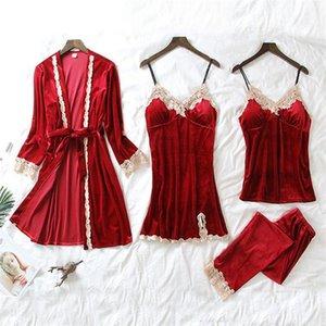 7 월의 노래 4 조각 벨벳 따뜻한 잠옷 세트 여성 섹시한 레이스 잠옷 잠자마 양복 겨울 슬링 Nightdress 여자 Nightwear1