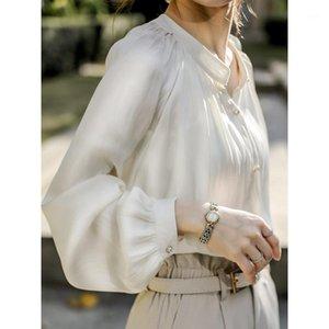 Chohall Blusas Frühling und Sommer französische frauen hemd weiß top langärmlige glänzende seiden satin shirt retro frauen 2020 blusen1