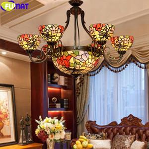 Lampadari di lusso Fumat Tiffany Farfalla Stile Dragonfly Serie Stained Glass, Fiore, Rosa Ombra sospensione Lampade Luci antichi