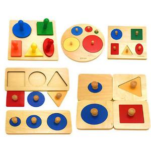 Kids Toy Baby Wood Learning Geometric Shape Panels Hand grasping board Educational Preschool Training Montessori Materials Toys Y200413