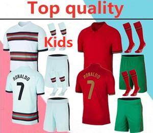 2020 Portugal RONALDO JOÃO FÉLIX kids soccer jersey full kits 2020 2021 RÚBEN NEVES BERNARDO JOÃO CANCELO BRUNO FERNANDES football shirt kit with socks