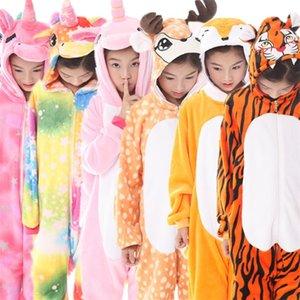Çocuk Pijama Unicorn Erkek Kız Onesie Çocuklar Için Hayvan Geyik Çocuk Pijamas Kış Çocuk Pijama Panda Pajamas LJ201016