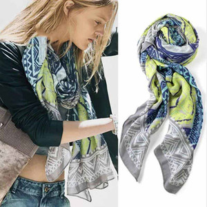 High quality cotton shawl painted gray sunscreen summer long square scarves fashion casual soft beach towel wrap for lady women