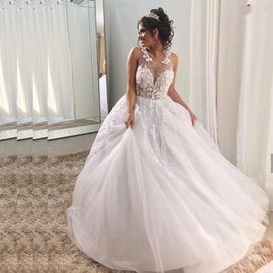Wedding Dress 2020 O-Neck Sleeveless Floor Length A Line Shiny Crystal Beading Hand Made Lace Appliques Flowers White
