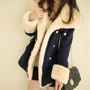Fast Shipping Winter Warm Coats Women Wool Slim Double Breasted Wool Coat Winter Jacket Women Fur S Coat Jackets