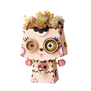 wholesale Cute Kitty Flower Pot 3D Wooden Puzzle Game Educational Models & Building Kits Toy Hobbies FT731 for Children Adult