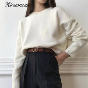 Hirsionsan Winter Oversized Sweater Women Elegant Knitted Basic Pullovers O Neck Loose Soft Female Cashmere Jumper 201016