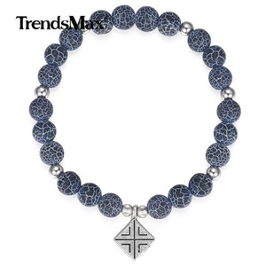 Pendant Db40 Stone Men Natural Blue For Double Gifts Bracelet Bead Chain Link Wristband Jewelry Steel Stainless tsetdvf whole2019
