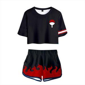 2019 Janpan 3D Print Naruto Cartoon Cosplay Two Piece Set New College Womens Sexy Navel T Shirt Shorts Suit