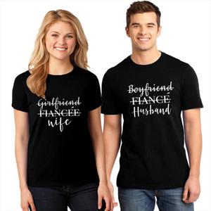 여자 친구 아내와 남자 친구 다니는 남편 커플 티셔츠 재미있는 여자 결혼 한 캐주얼 신혼 여행 티셔츠 탑스